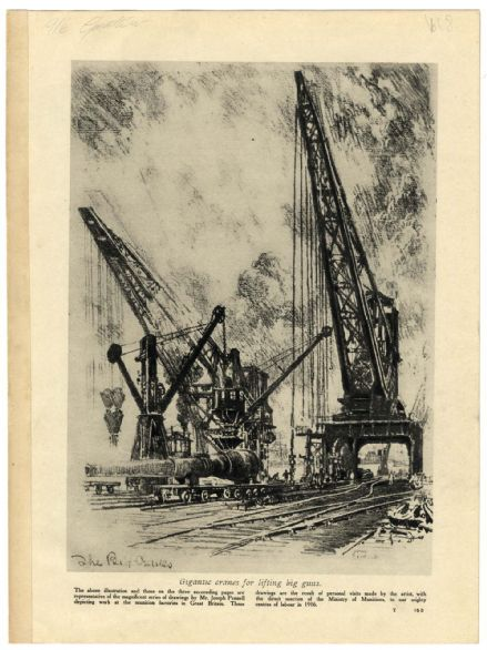 1916 WW1 Print MUNITIONS FACTORIES Forge CRANES Drawn by Joseph Pennell American Artist